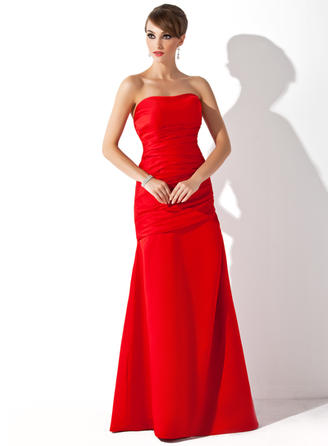 Satin Sleeveless Trumpet/Mermaid Bridesmaid Dresses Strapless Ruffle Floor-Length