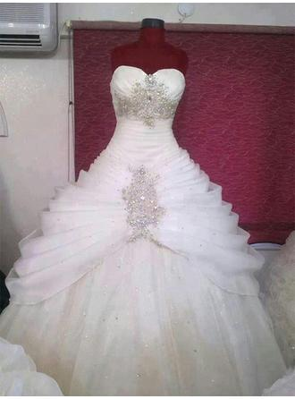 Sweetheart Ball-Gown Wedding Dresses Tulle Ruffle Beading Sleeveless Sweep Train
