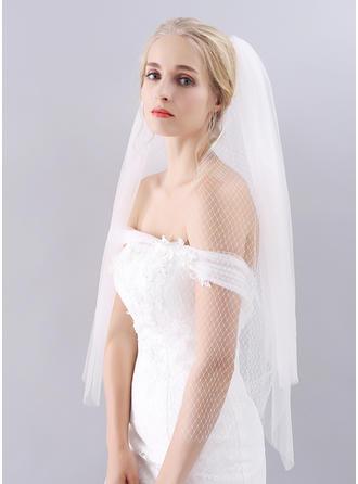 Fingerspitze Braut Schleier Tüll Klassische Art mit Schnittkante 39.37 in (100cm) Brautschleier
