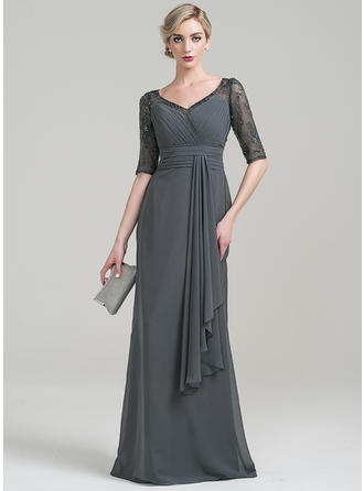 Chiffon 1/2 Sleeves Mother of the Bride Dresses V-neck Sheath/Column Lace Beading Sequins Cascading Ruffles Floor-Length