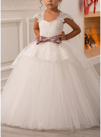 Ball Gown Sweetheart Floor-length With Sash/Bow(s) Tulle Flower Girl Dresses
