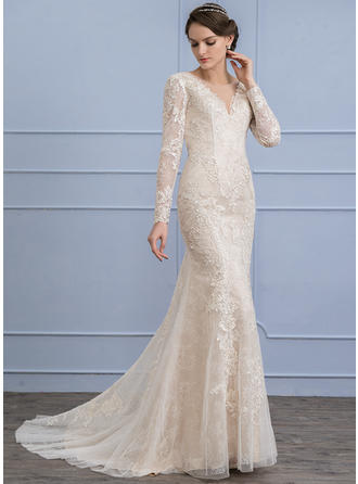 Sweep Train Trumpet/Mermaid Lace Modern Wedding Dresses Long Sleeves