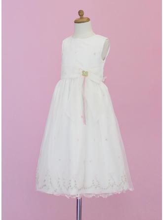 Elegant Knöchellang A-Linie/Princess-Linie Blumenmädchenkleider U-Ausschnitt Organza Ärmellos (010005343)