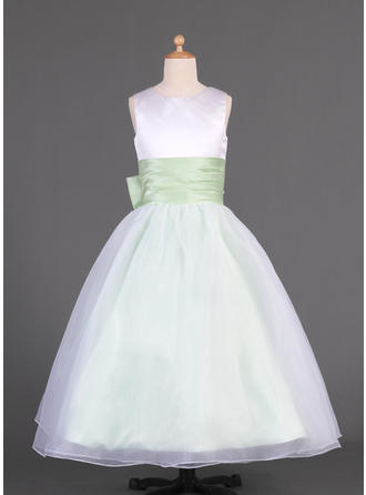 A-Line/Princess Scoop Neck Floor-length With Sash/Bow(s) Organza/Charmeuse Flower Girl Dress