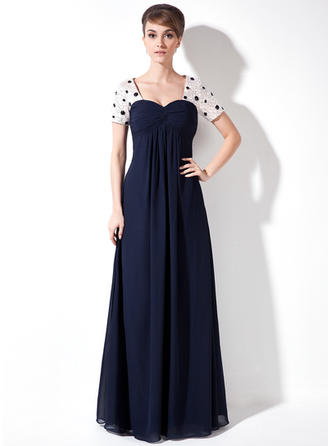 Empire Chiffon Short Sleeves Sweetheart Floor-Length Zipper Up Mother of the Bride Dresses