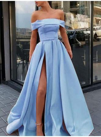 Sexy Satin Evening Dresses A-Line/Princess Sweep Train Off-the-Shoulder Sleeveless
