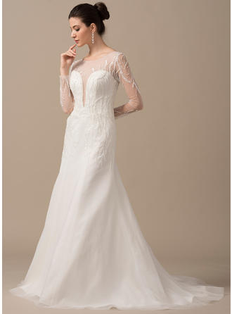 Beautiful Sweep Train A-Line/Princess Wedding Dresses Scoop Tulle Long Sleeves