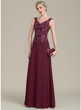 A-Line/Princess Chiffon Lace Sleeveless V-neck Floor-Length Zipper Up Mother of the Bride Dresses