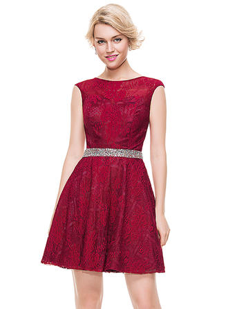 Tulle Lace Cap Straps A-Line/Princess Scoop Neck Homecoming Dresses