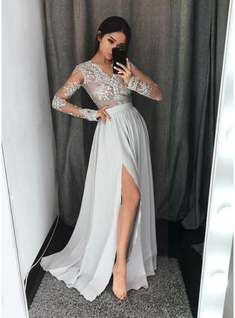 Delicate Chiffon Evening Dresses A-Line/Princess Sweep Train V-neck Long Sleeves (017217195)