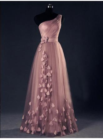 A-Line/Princess One-Shoulder Tulle Sleeveless Floor-Length Flower(s) Evening Dresses