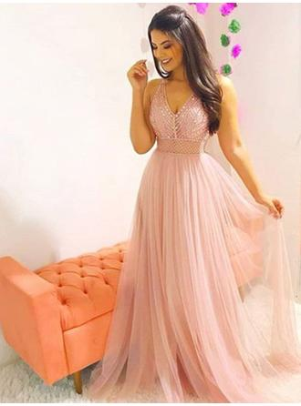 A-Line/Princess V-neck Tulle Sleeveless Sweep Train Beading Evening Dresses