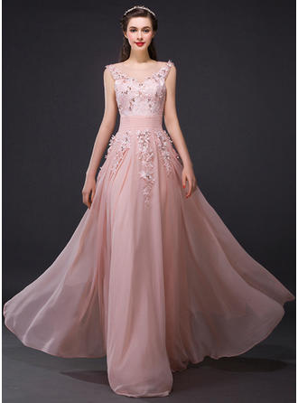 A-Line/Princess Scoop Neck Floor-Length Evening Dress With Flower(s) (017210060)
