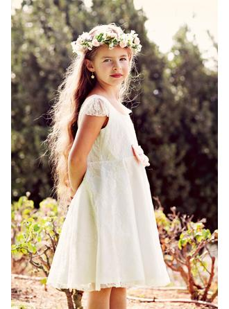 A-Line/Princess Scoop Neck Knee-length With Bow(s) Lace Flower Girl Dress