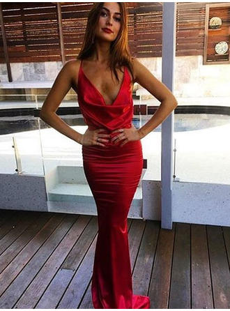 Trumpet/Mermaid Cowl Neck Silk Like Satin Sleeveless Sweep Train Ruffle Evening Dresses