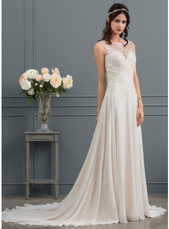 A-Line Illusion Court Train Chiffon Wedding Dress With Sequins