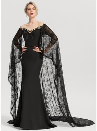 Trumpet/Mermaid Scoop Neck Court Train Stretch Crepe Evening Dress With Sequins