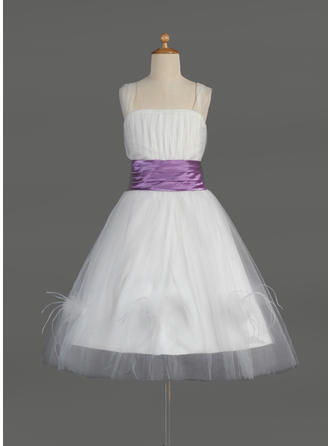 A-Line/Princess Square Neckline Knee-length With Ruffles/Sash/Feather Tulle/Charmeuse Flower Girl Dress