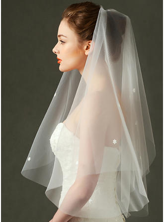 Elbow Bridal Veils Tulle One-tier Rectangular With Cut Edge Wedding Veils