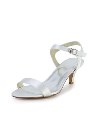 Women's Sandals Slingbacks Kitten Heel Satin Wedding Shoes