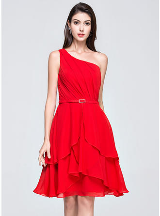 A-Line/Princess Knee-Length Homecoming Dresses One-Shoulder Chiffon Sleeveless