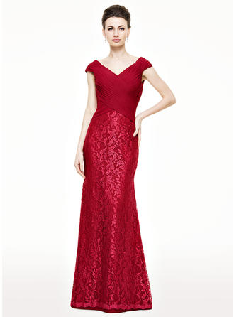 Chiffon Lace Sleeveless Mother of the Bride Dresses V-neck Trumpet/Mermaid Ruffle Floor-Length