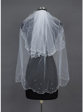 Fingertip Bridal Veils Tulle Two-tier Classic With Pearl Trim Edge/Scalloped Edge Wedding Veils