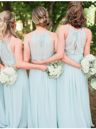 A-Line/Princess Floor-Length Chiffon Scoop Neck Bridesmaid Dresses