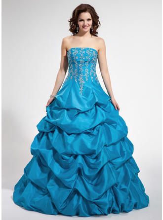 Ball-Gown Strapless Floor-Length Taffeta Prom Dress With Beading