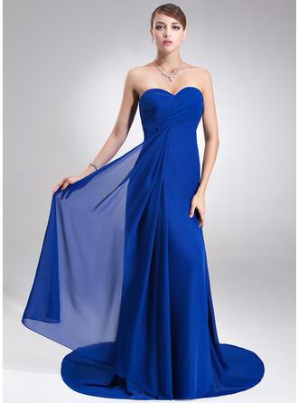 Empire Sweetheart Court Train Chiffon Bridesmaid Dress With Ruffle
