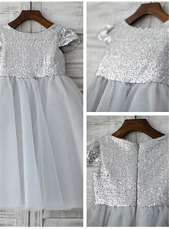 Scoop Neck A-Line/Princess Flower Girl Dresses Tulle/Sequined Pleated Short Sleeves Tea-length