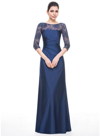 A-Line/Princess Jersey 1/2 Sleeves Scoop Neck Floor-Length Zipper Up Mother of the Bride Dresses