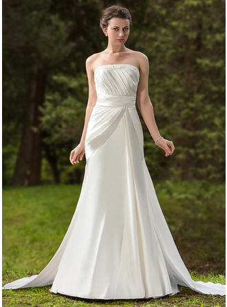 Simple Watteau Train Trumpet/Mermaid Wedding Dresses Strapless Satin Sleeveless