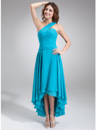 A-Line/Princess One-Shoulder Asymmetrical Chiffon Homecoming Dresses With Ruffle