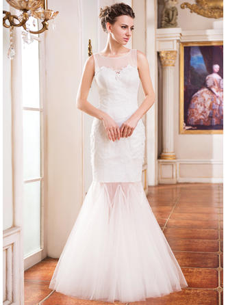 Delicate Floor-Length Trumpet/Mermaid Wedding Dresses Scoop Tulle Lace Sleeveless