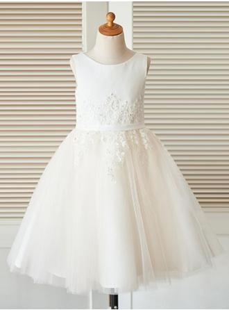 A-Line/Princess Scoop Neck Tea-length Satin/Tulle/Lace Sleeveless Flower Girl Dress