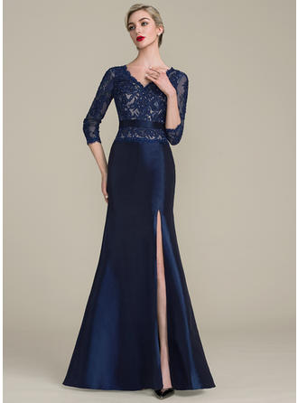 Trumpet/Mermaid V-neck Floor-Length Taffeta Lace Mother of the Bride Dress With Beading Sequins Split Front