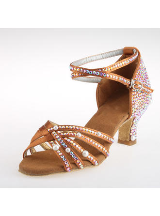Women's Latin Heels Satin With Rhinestone Ankle Strap Dance Shoes