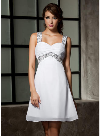 Empire Sweetheart Chiffon Sleeveless Short/Mini Ruffle Beading Sequins Homecoming Dresses
