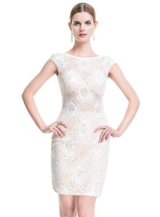 Sheath/Column Scoop Neck Lace Sleeveless Short/Mini Beading Cocktail Dresses