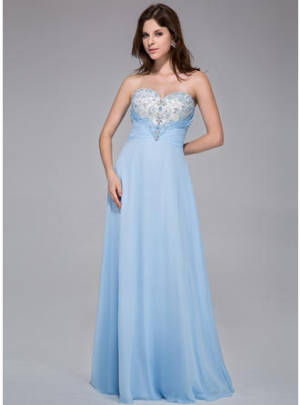 Chiffon Sleeveless A-Line/Princess Prom Dresses Sweetheart Ruffle Beading Floor-Length