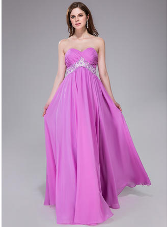 Chiffon Sleeveless Empire Prom Dresses Sweetheart Ruffle Sash Beading Appliques Lace Sequins Floor-Length