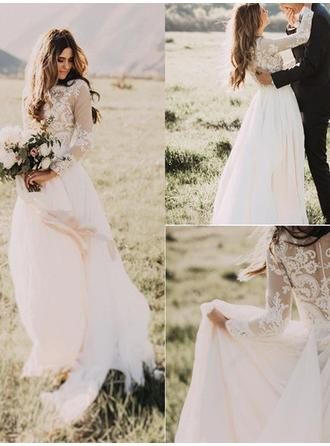 Scoop A-Line/Princess Wedding Dresses Chiffon Appliques Lace Long Sleeves Floor-Length