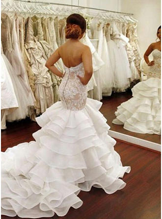 Sweetheart Trumpet/Mermaid Wedding Dresses Organza Cascading Ruffles Sleeveless Chapel Train