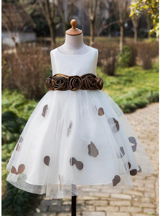 Ball Gown Tea-length Flower Girl Dress - Satin/Tulle Sleeveless Scoop Neck With Flower(s)/Bow(s)