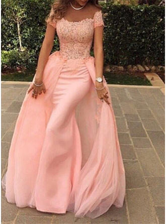 A-Line/Princess Scoop Neck Floor-Length Evening Dress