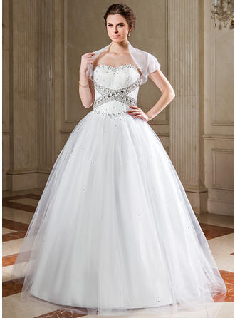 Ball-Gown Sweetheart Floor-Length Tulle Prom Dress With Ruffle Sequins