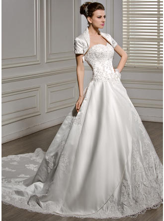 Modern Cathedral Train Ball-Gown Wedding Dresses Sweetheart Satin Sleeveless