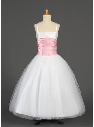 Ball Gown Straps Floor-length With Sash Tulle/Charmeuse Flower Girl Dress
