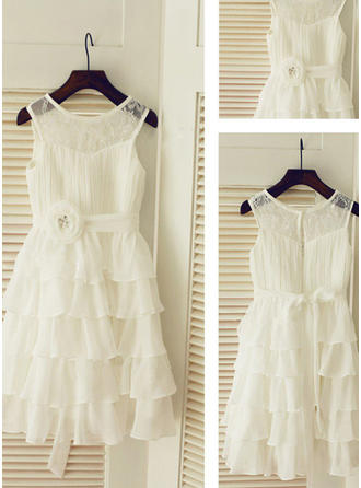 Scoop Neck A-Line/Princess Flower Girl Dresses Chiffon Ruffles/Sash Sleeveless Tea-length